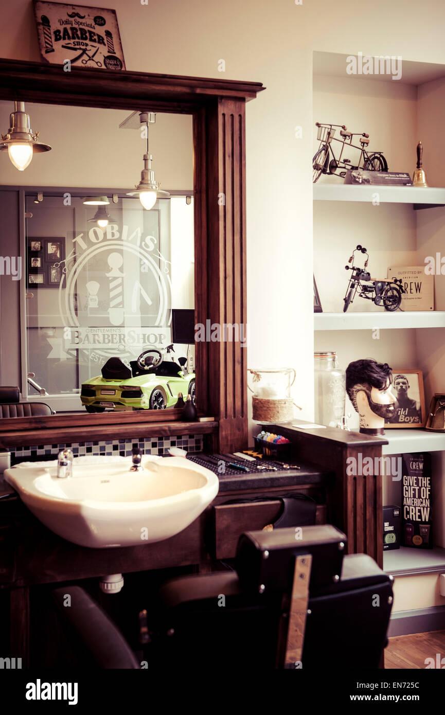 Men 39 s barber shop retro styled interior design stock photo royalty free image 81904632 alamy - Barber shop interior ...