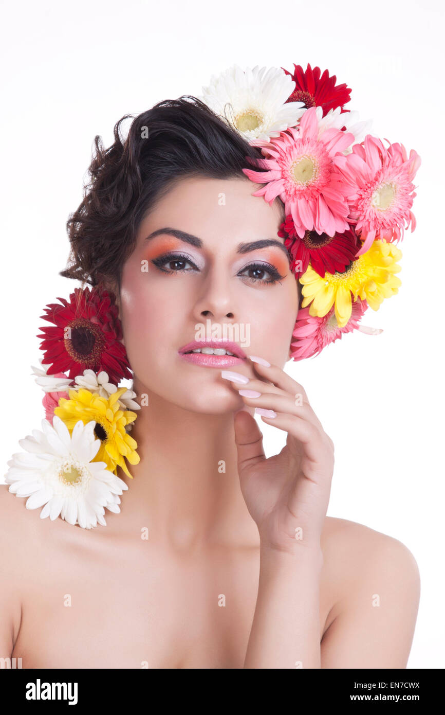 Portrait of a beautiful woman with flowers in hair stock photo portrait of a beautiful woman with flowers in hair dhlflorist Gallery