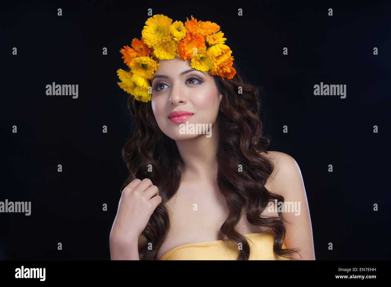 Portrait of a beautiful woman with flowers in her hair stock photo portrait of a beautiful woman with flowers in her hair dhlflorist Gallery