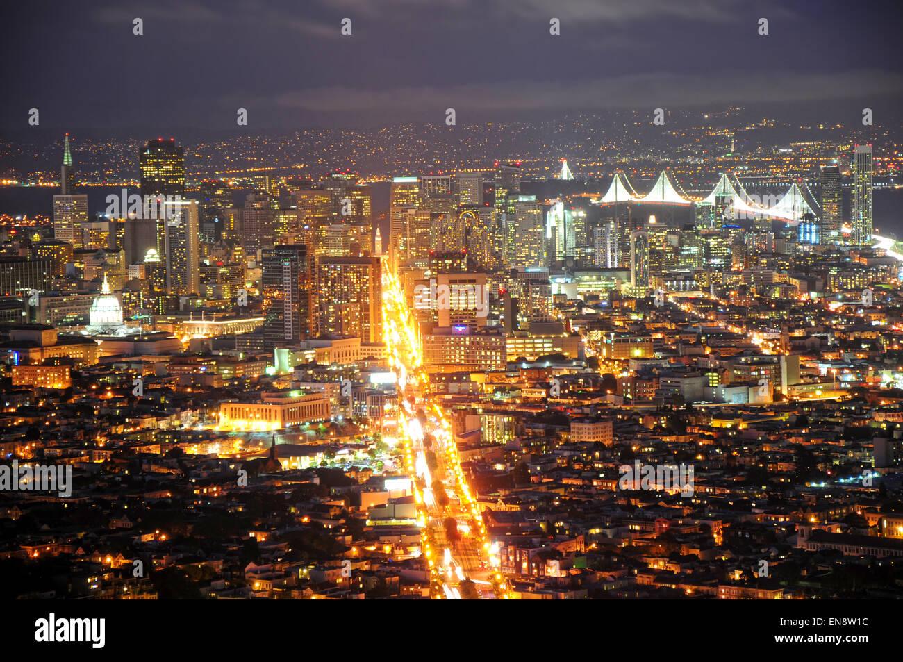San francisco city scape night landscape with view of east for San francisco landscape