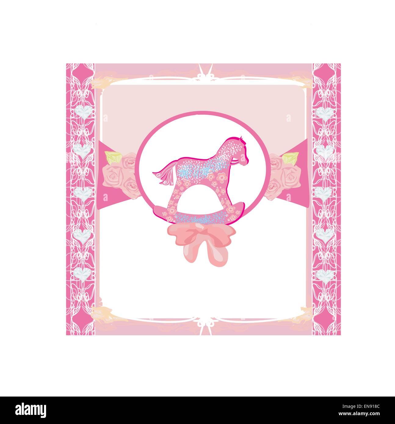 Rocking Horses - baby girl baby shower invitation card Stock Vector ...