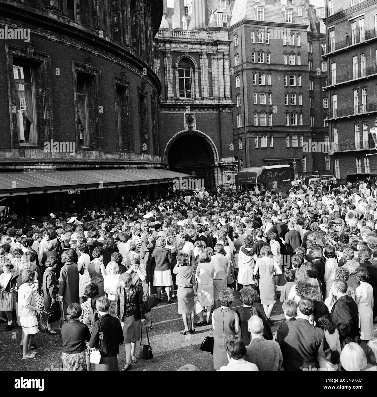 Fans gather outside the stage door of the royal albert for Door 4 royal albert hall