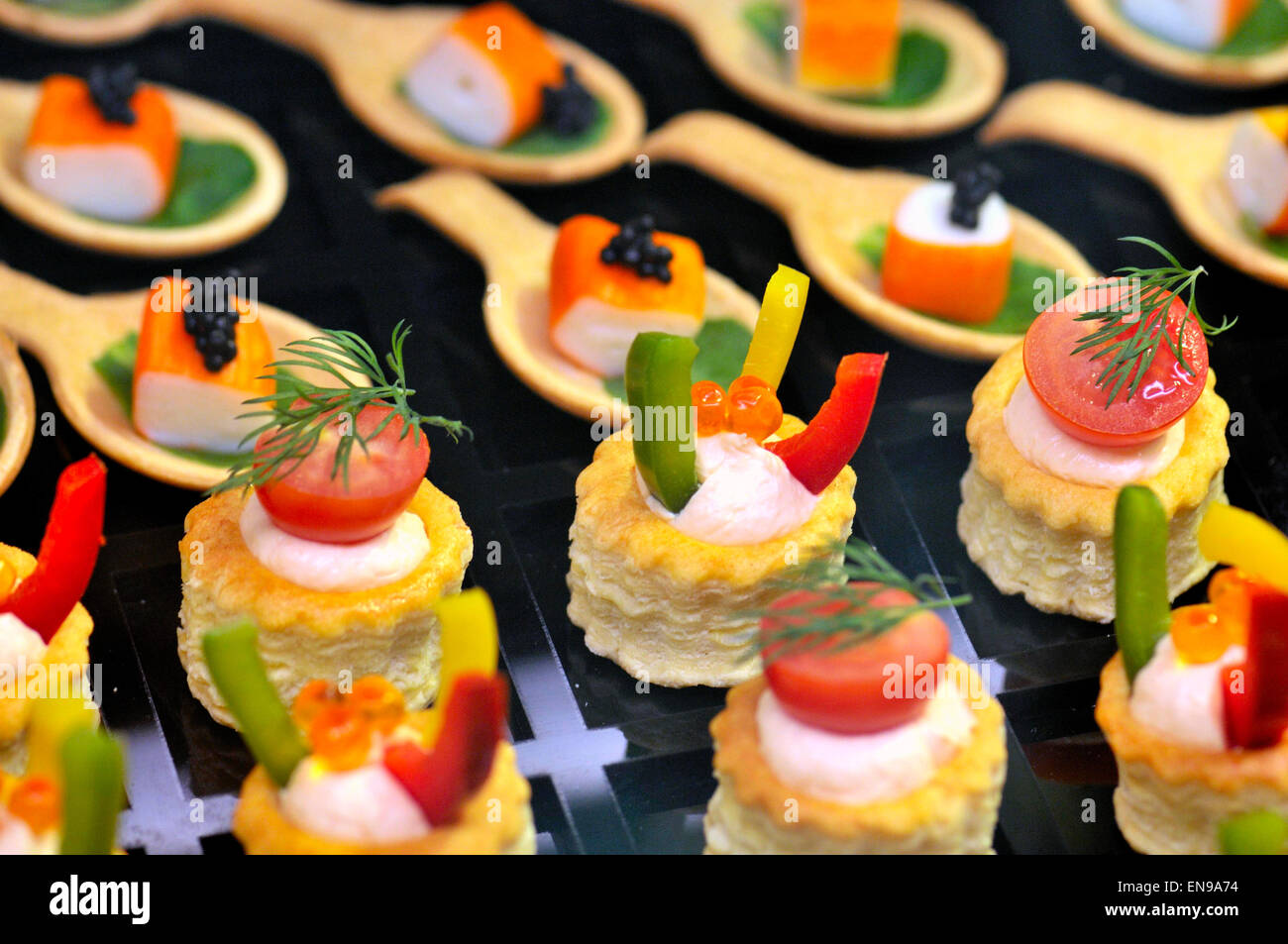 appetizers, vol-au-vent in a food exhibition stock photo, royalty