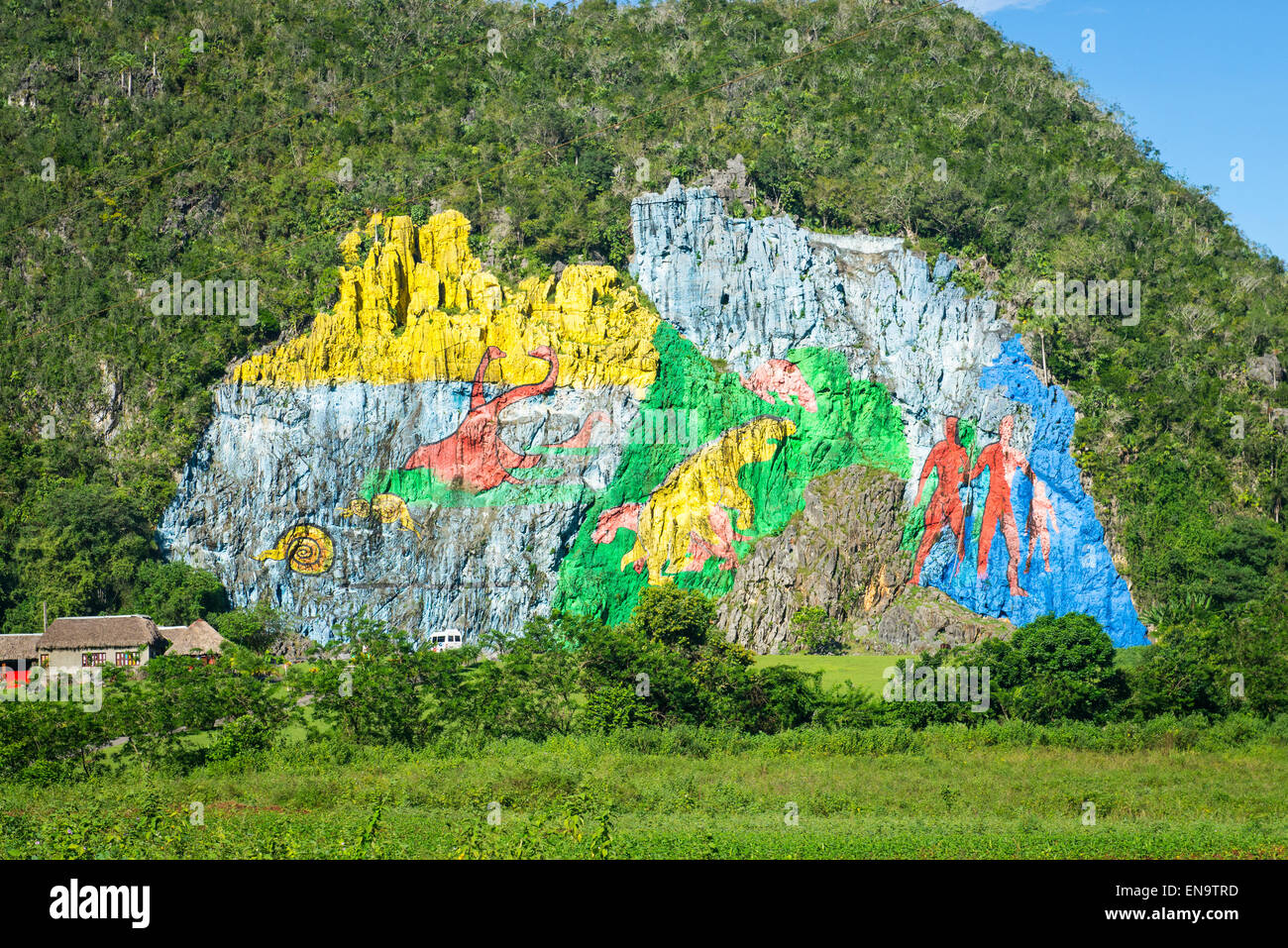Cuba vinales mural de la prehistoria mogote painting by for Mural de la prehistoria
