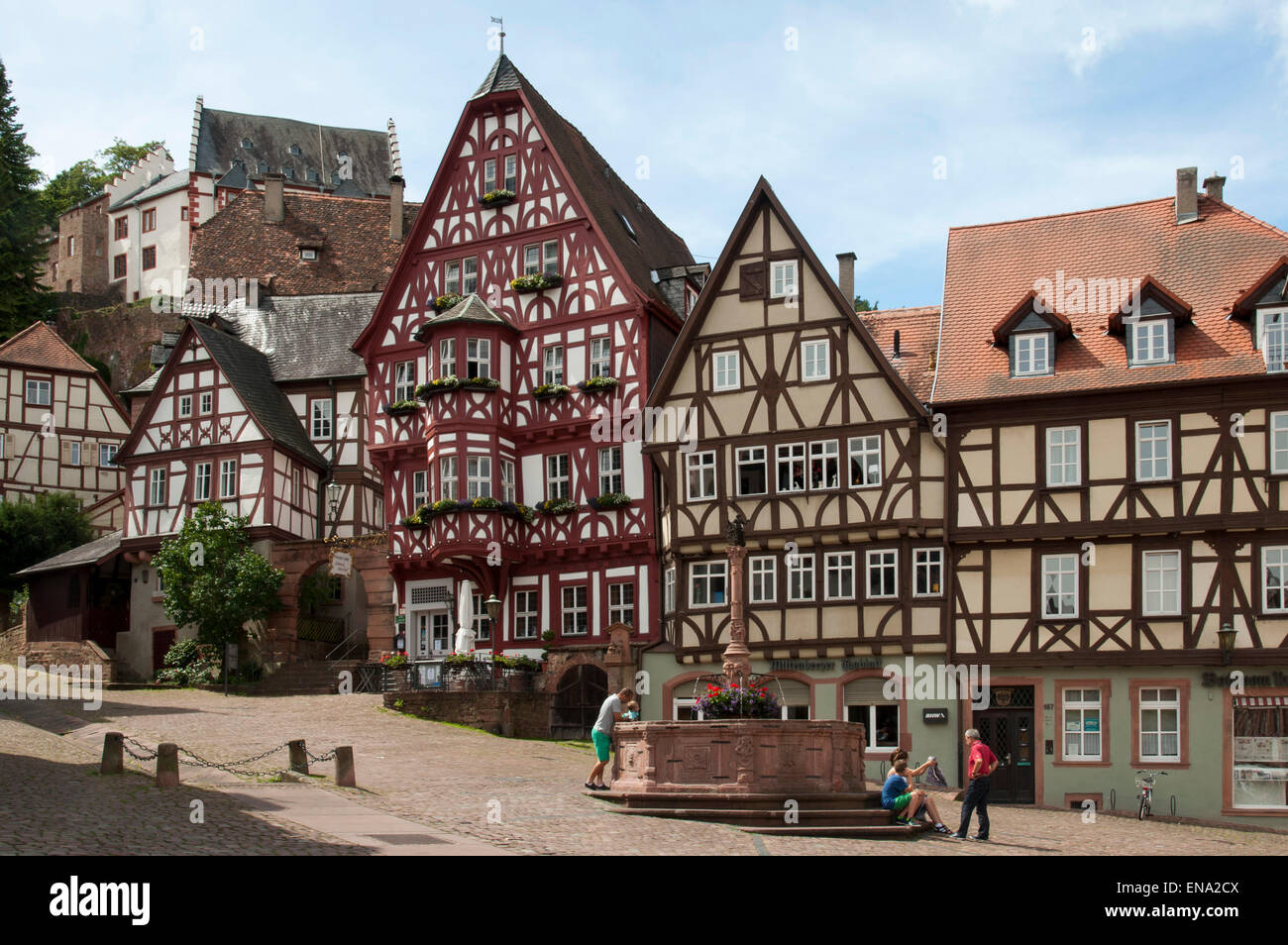 timber framed houses high street old town of miltenberg