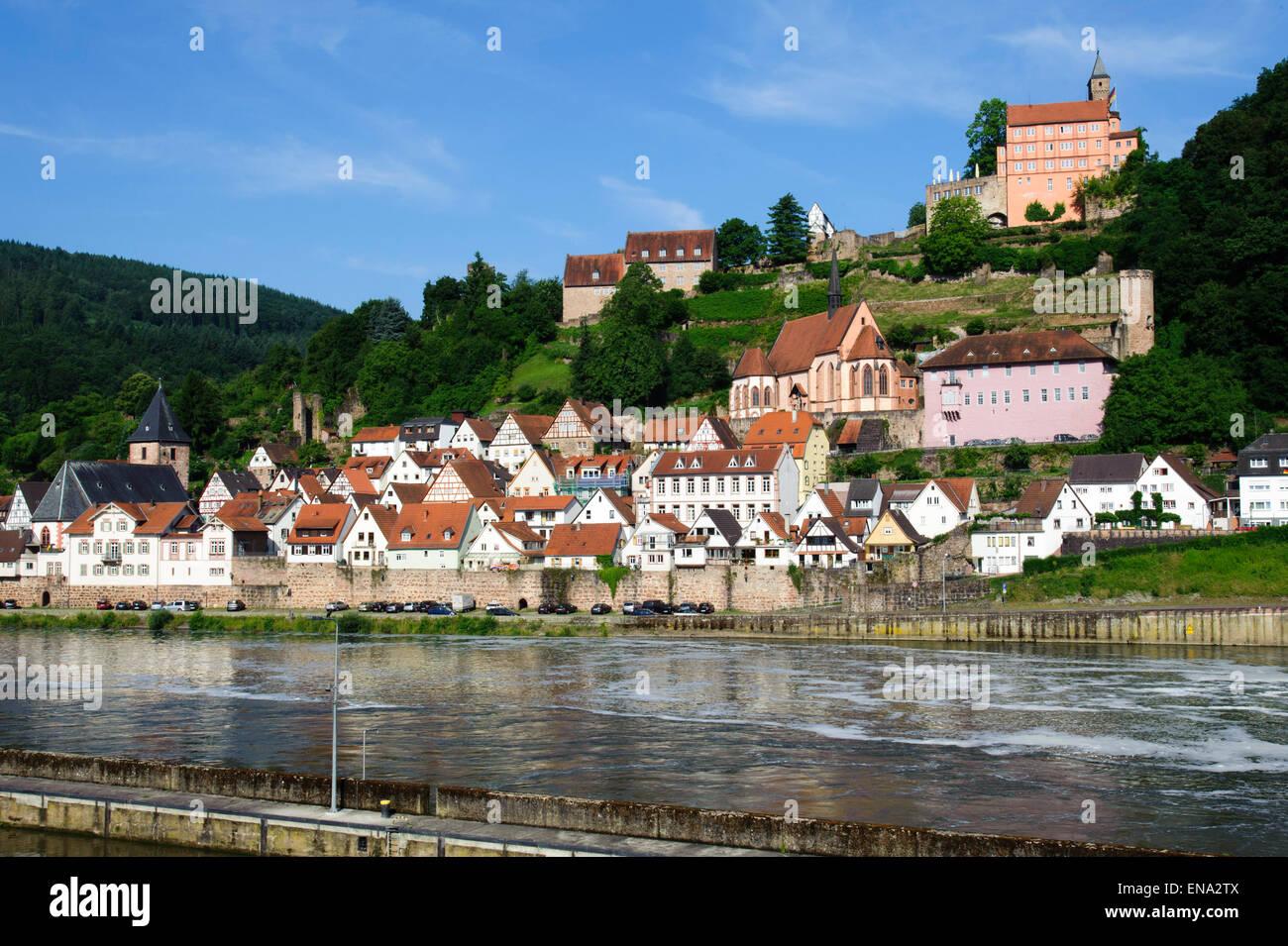Old Town And Castle Hirschhorn Neckar Hessen Germany Stock - Hessen germany