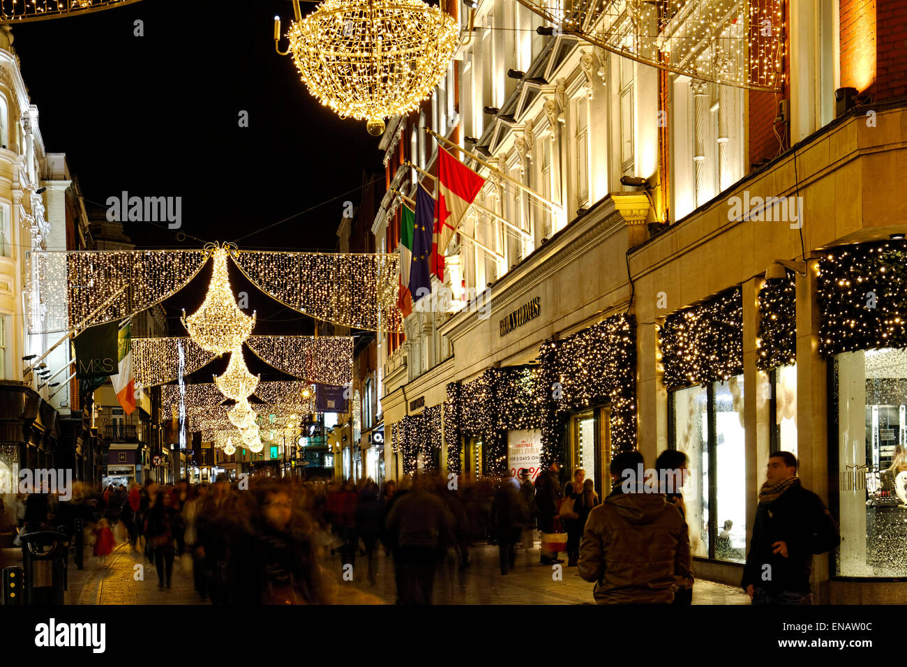 Christmas street decorations at night dublin republic of