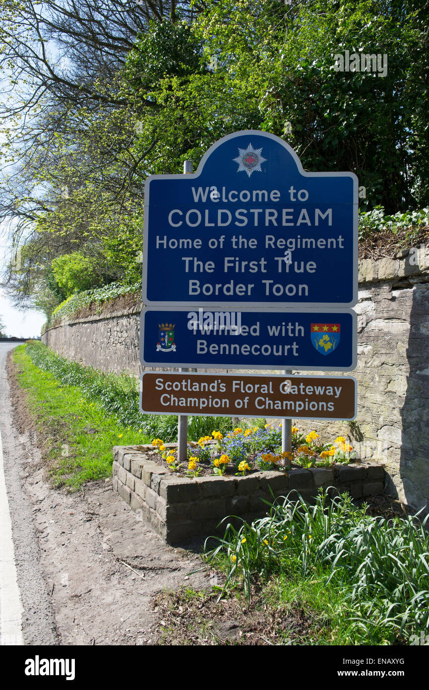 Welcome To Coldstream Sign On The A698 A Small Town Stock