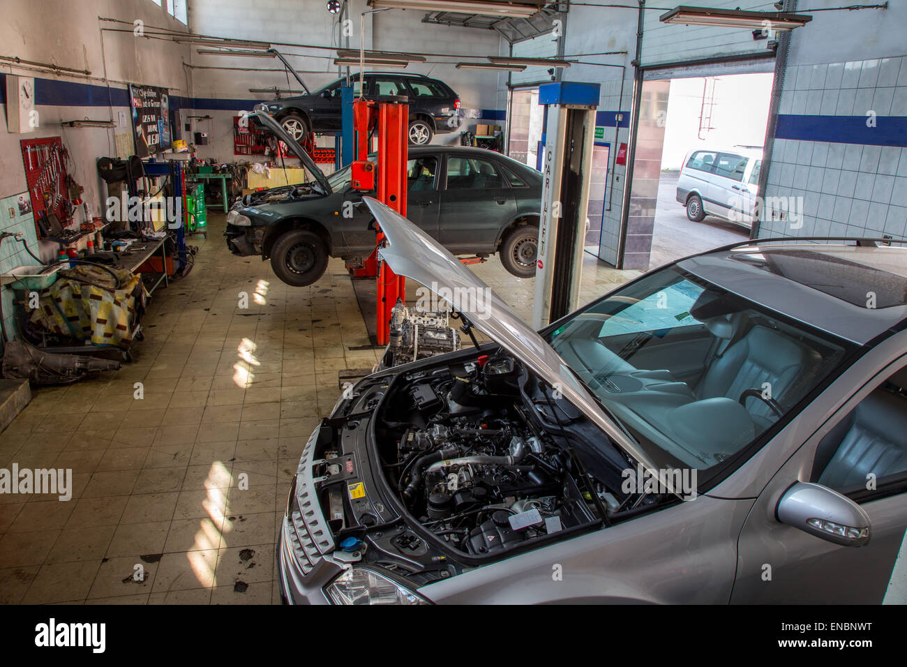 Old style car service with the cars inside Stock Photo: 82007908 ...