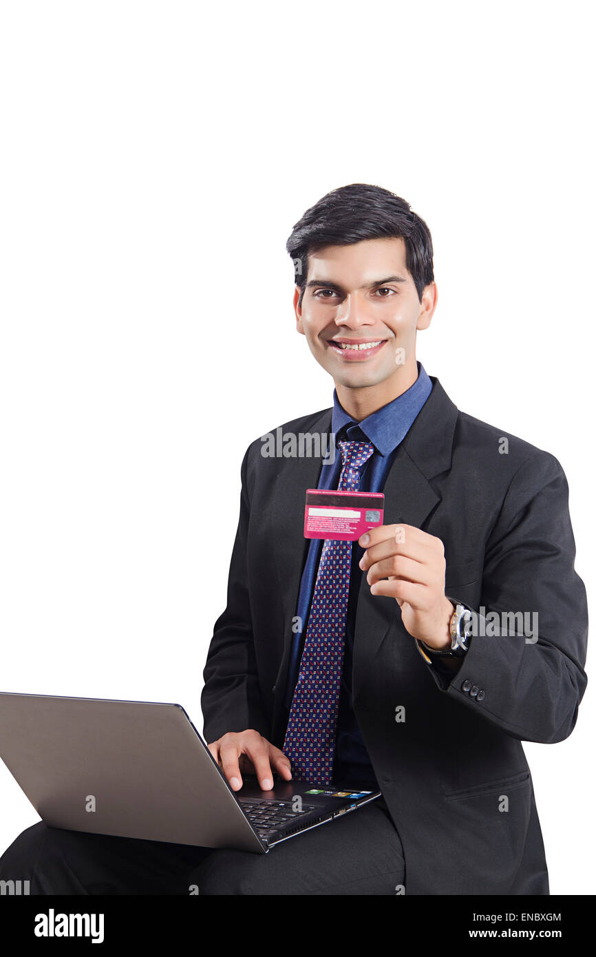 1 indian business man laptop credit card shopping stock photo 1 indian business man laptop credit card shopping reheart Images