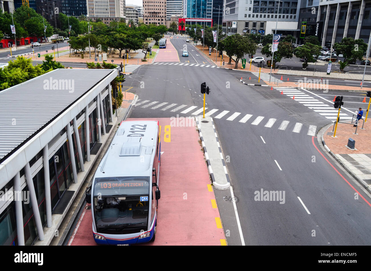 a myciti bus on an integrated rapid transit irt lane in. Black Bedroom Furniture Sets. Home Design Ideas