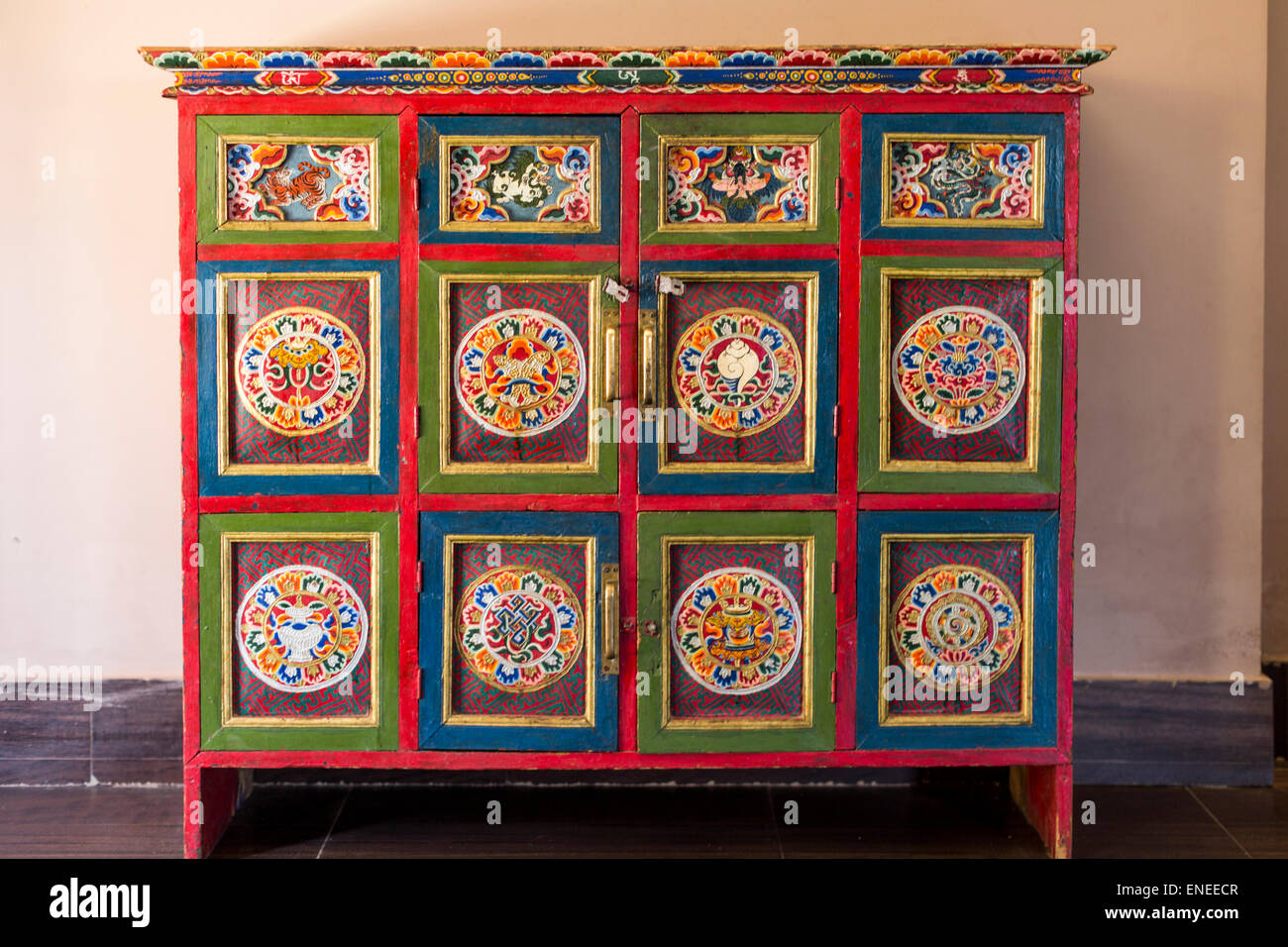 Good Traditional Handmade, Handpainted Cupboard, Wangdue, Bhutan, Asia   Stock  Image