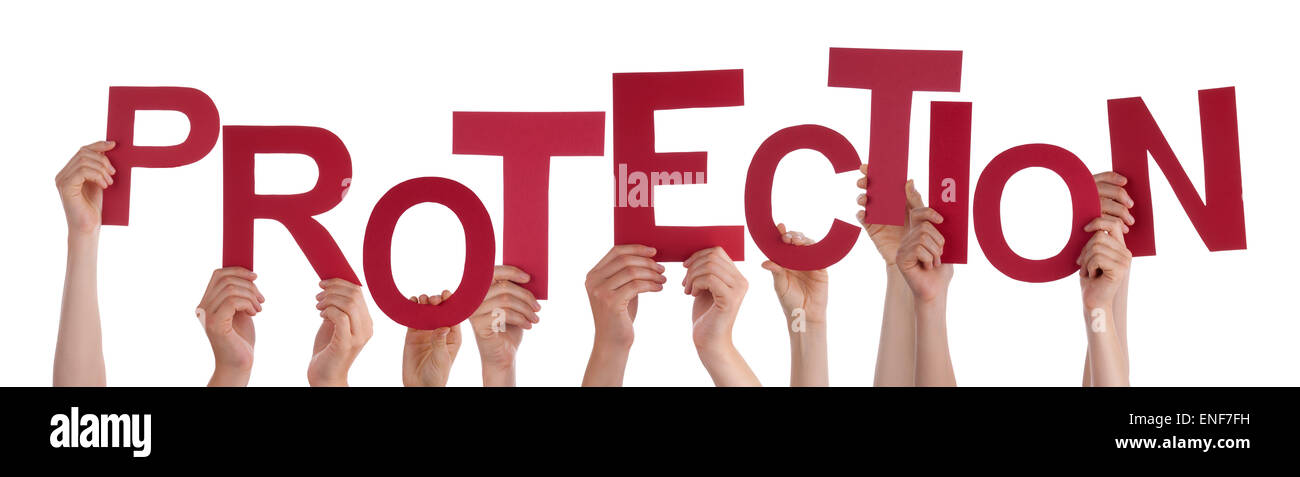 Many People Hands Holding Red Word Protection Stock Photo, Royalty ...