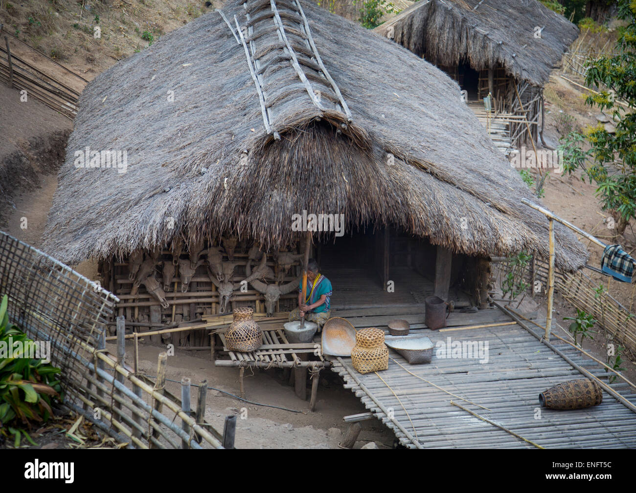 Tribal chin woman from muun tribe house mindat myanmar for Tribal house