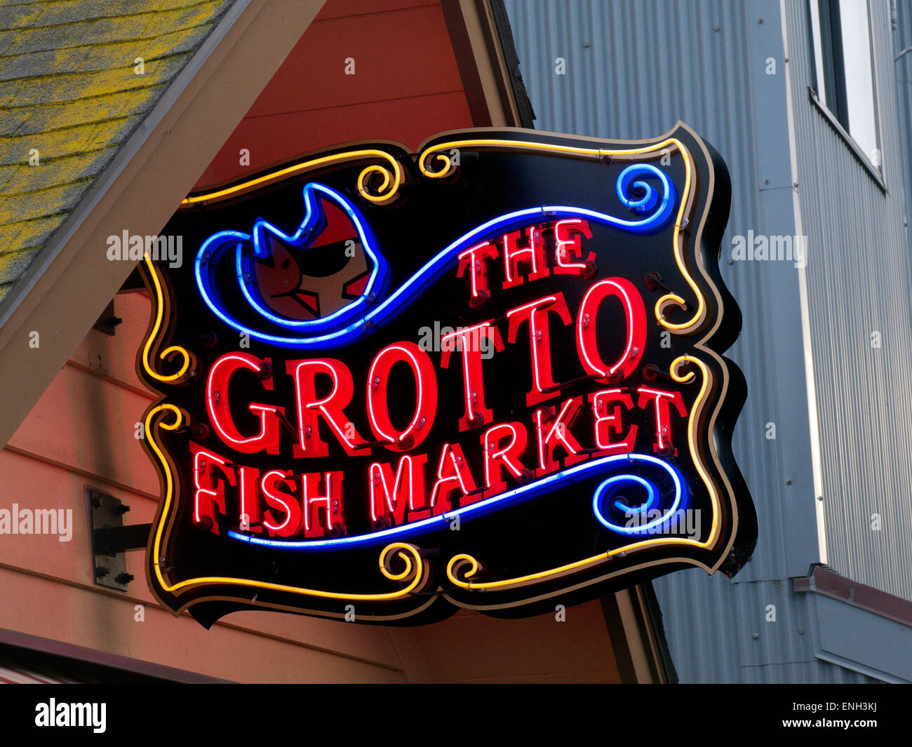 Neon sign for The Grotto fish market restaurant on Monterey Pier Stock Photo, Royalty Free Image ...