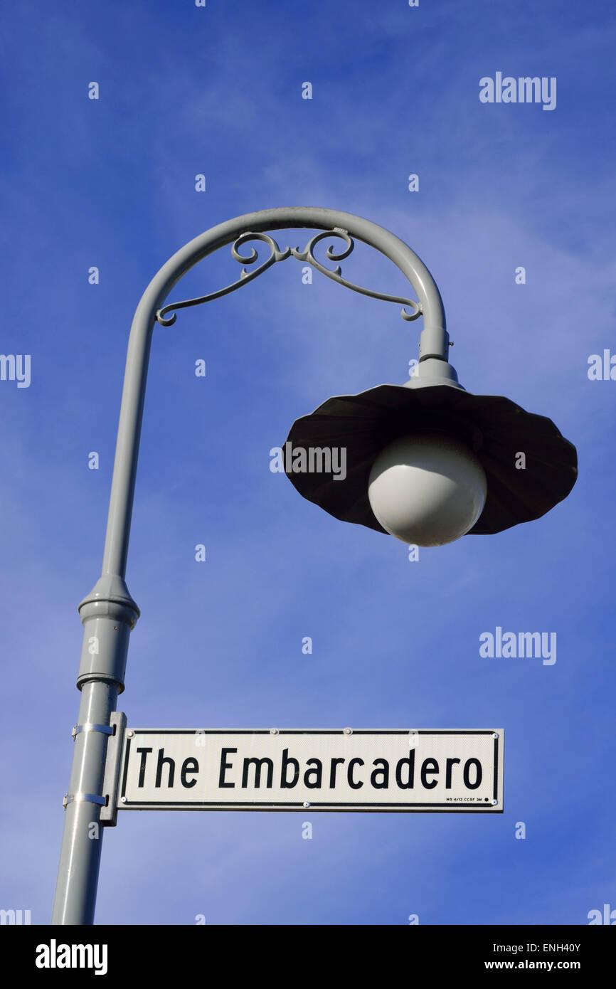 Art Nouveau Design Street Light With Embarcadero Street Sign At Pier 39 San Francisco California Usa