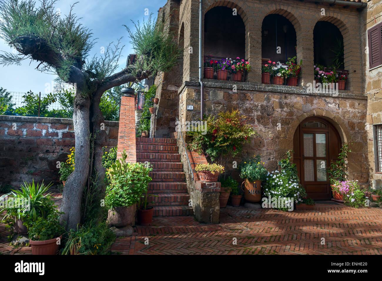 Stock Photo   Italian Patio In Old Village Pitigliano