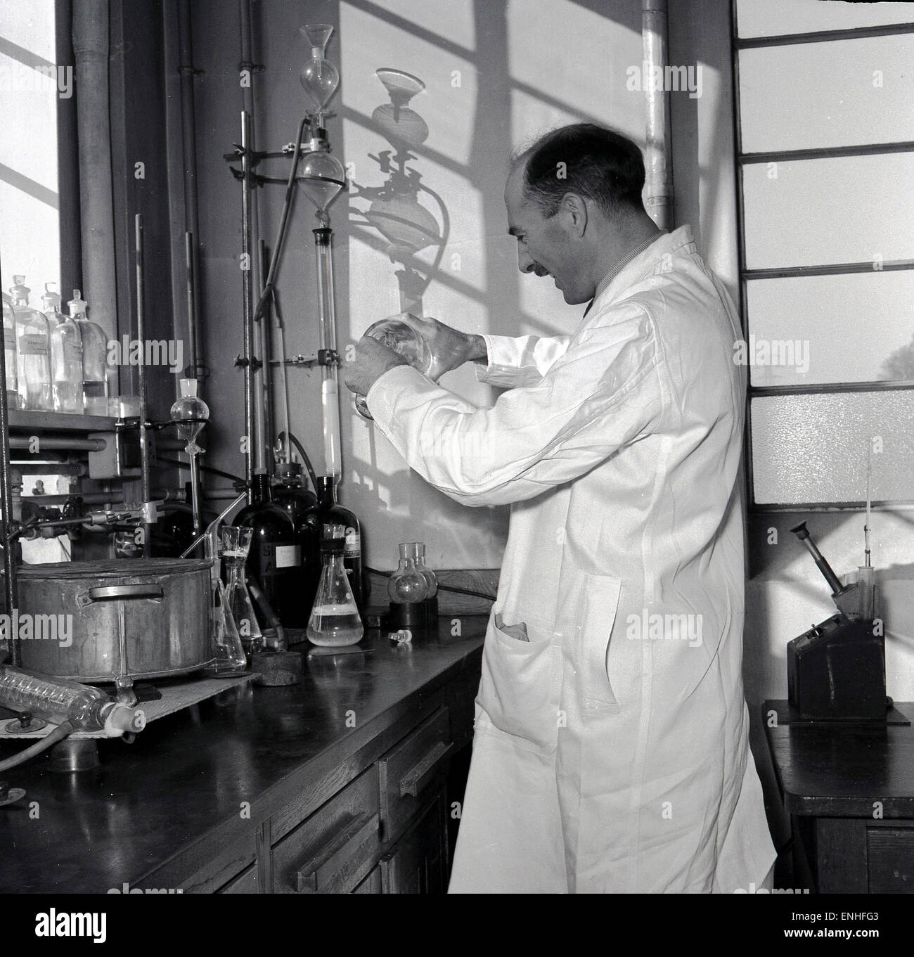 1950s  Historical  England  Male Scientist In White Coat