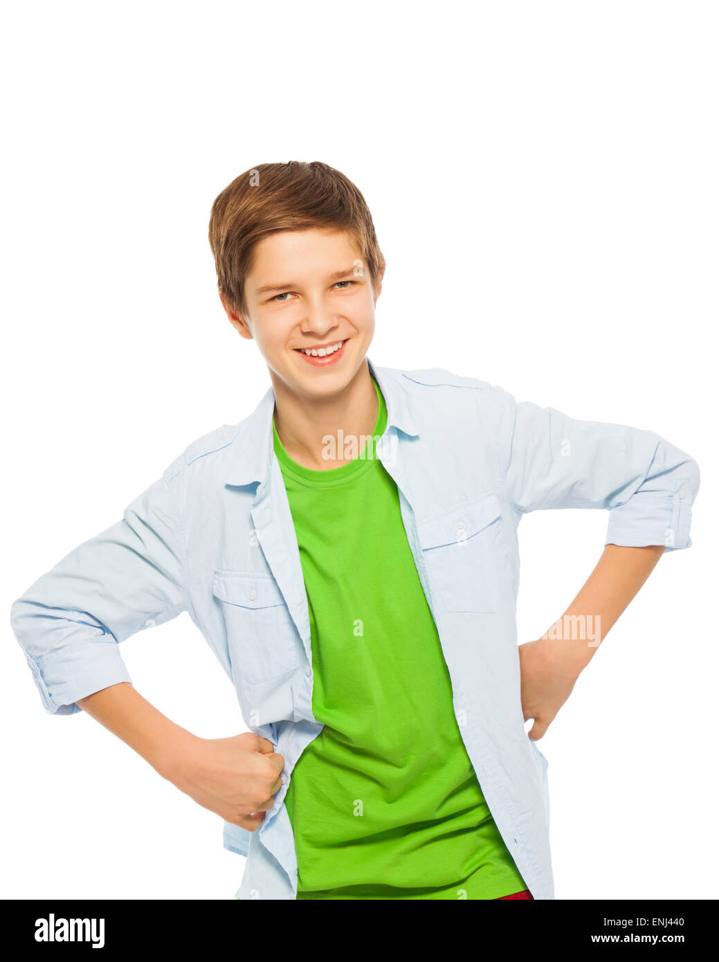 Cute Stock Photography: Cute Young Teen Boy Smiling With Hands On Waist Stock
