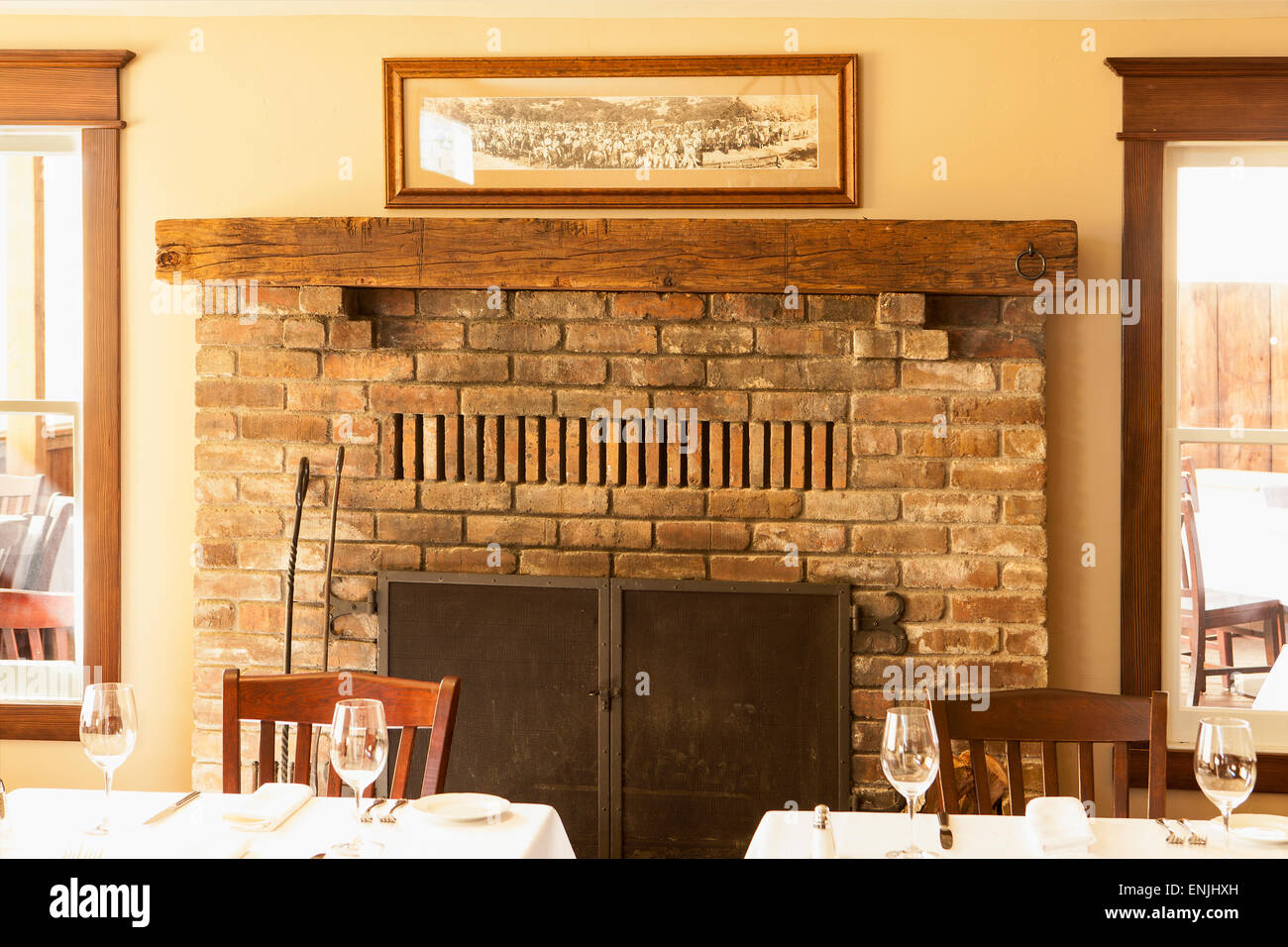 fireplace in the Brothers Restaurant at the Red Barn, Santa Ynez ...