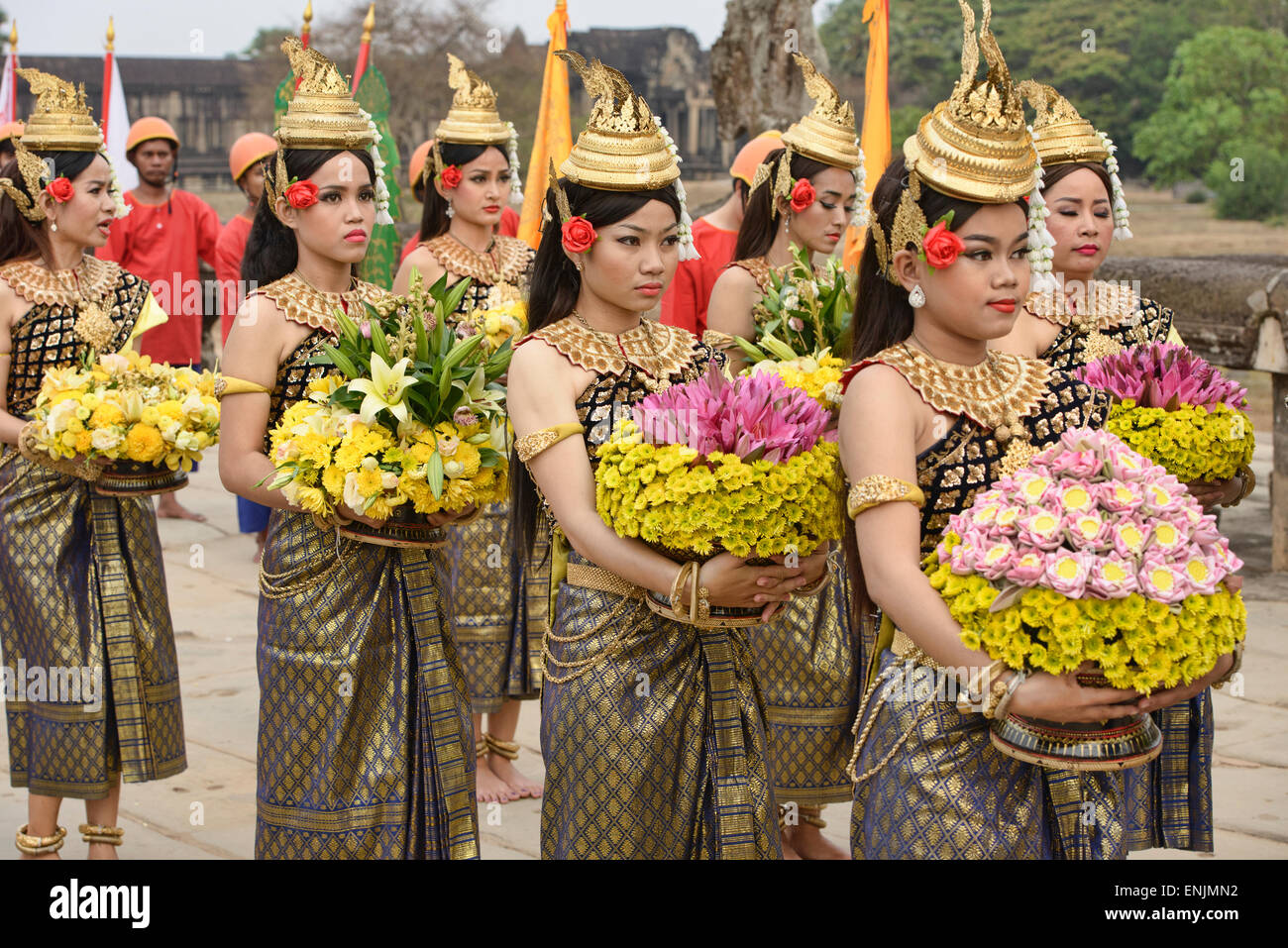 Khmer New Year at Angkor Wat in Siem Reap, Cambodia Stock ...