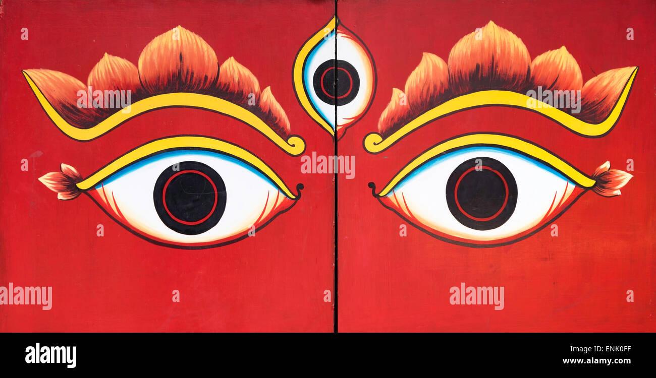 Buddha eyes painted on a door in kathmandu nepal asia stock buddha eyes painted on a door in kathmandu nepal asia biocorpaavc Images