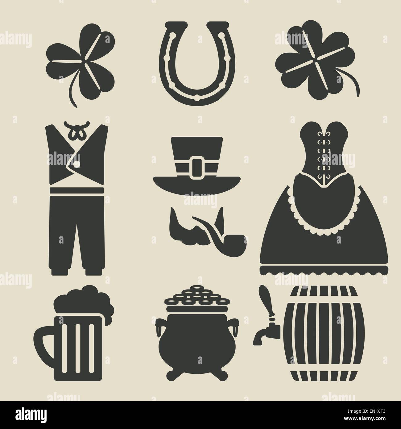 st patricks day symbols set vector illustration eps 8 stock