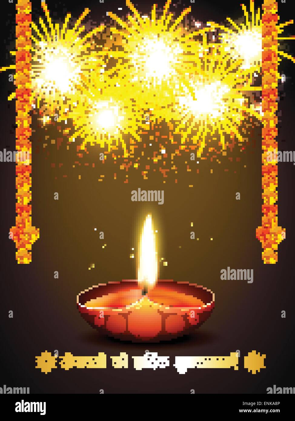 Beautiful diwali festival lamp fireworks stock photos beautiful happy diwali greeting with fireworks stock image kristyandbryce Image collections