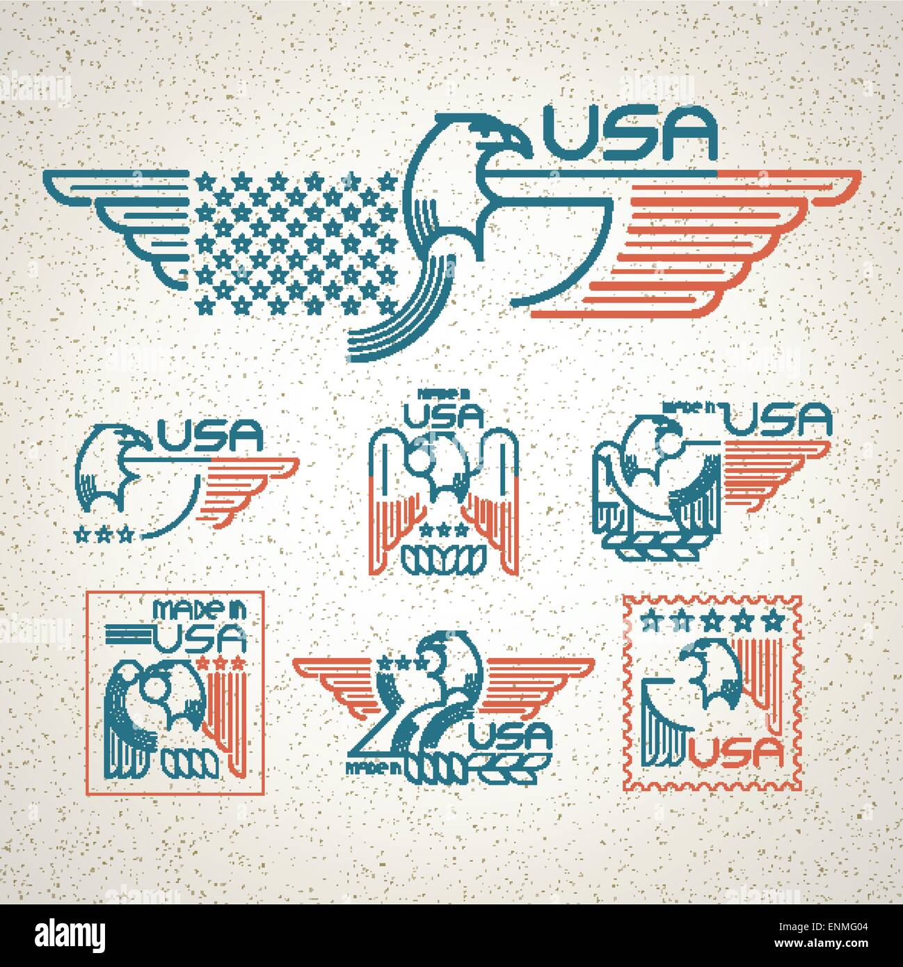 Made in the usa symbol with american flag and eagle set of made in the usa symbol with american flag and eagle set of templates emblems vector illustration eps 10 buycottarizona