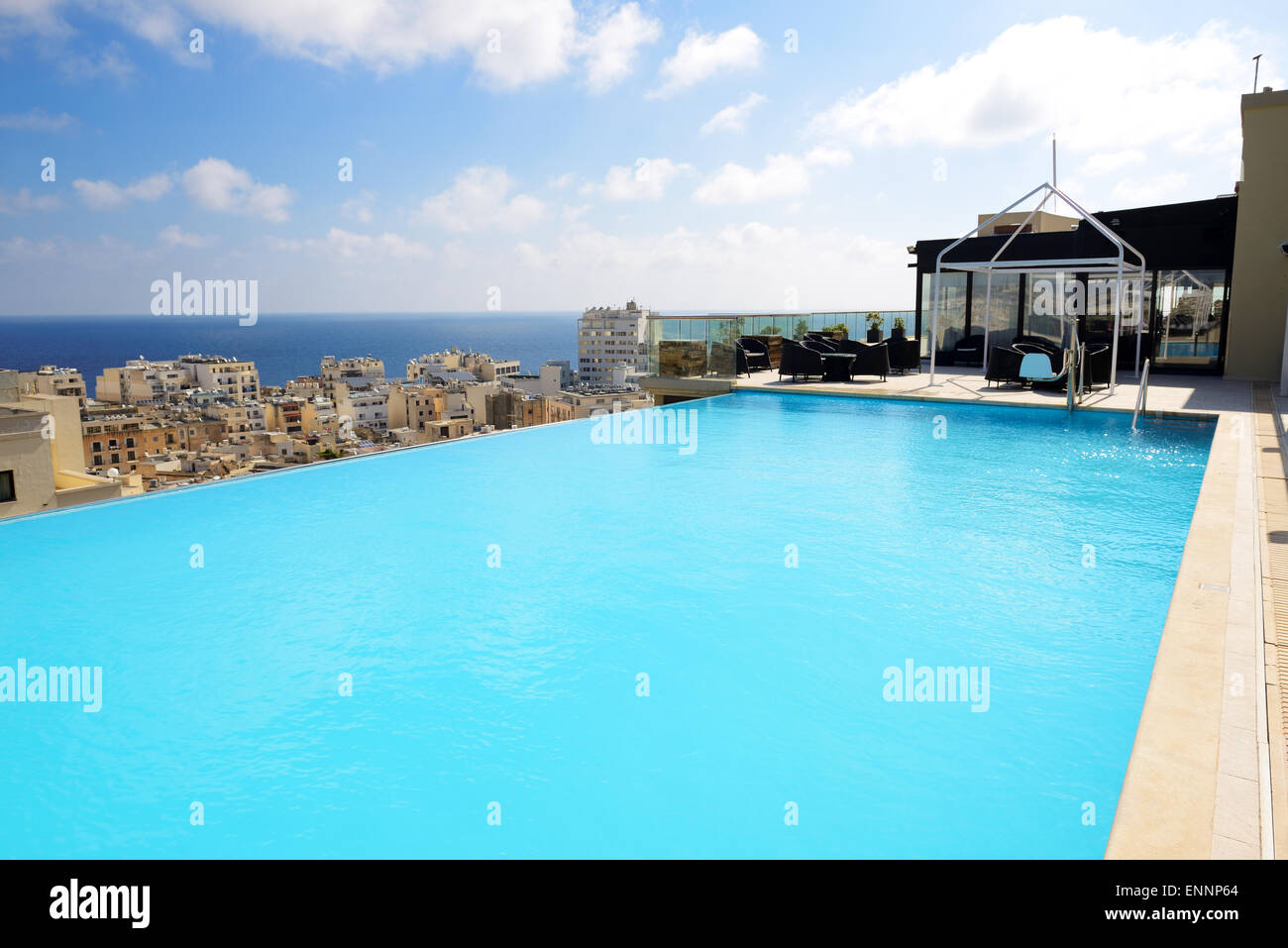 The Swimming Pool On The Top Of Building Of Luxury Hotel Malta Stock Photo 82227660 Alamy