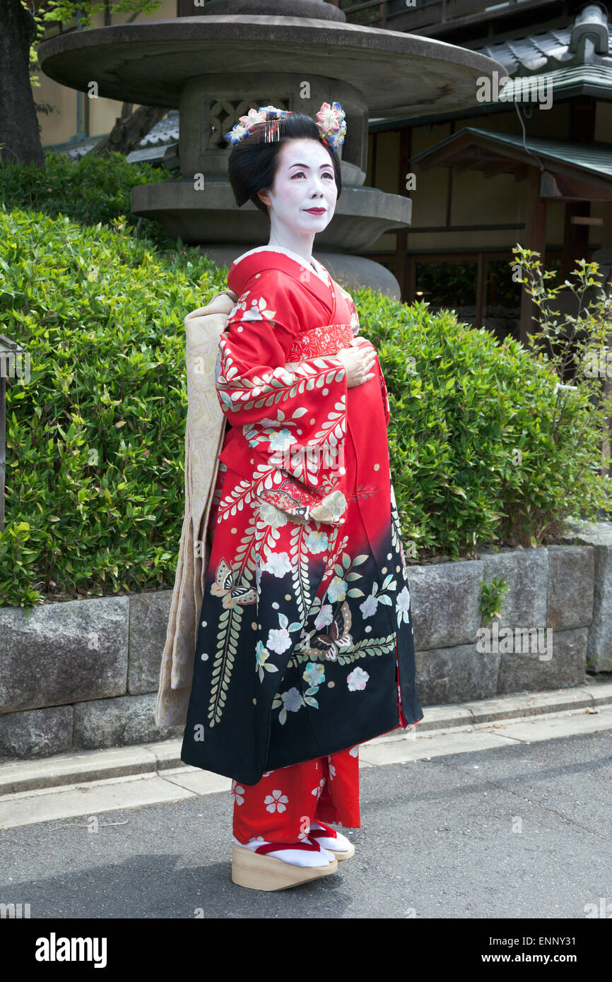 Geisha In Traditional Clothing In Kyoto Japan Stock Photo