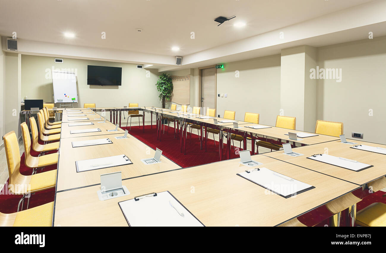 Interior Of A Modern Conference Room, Tables With Built In Power Supply.