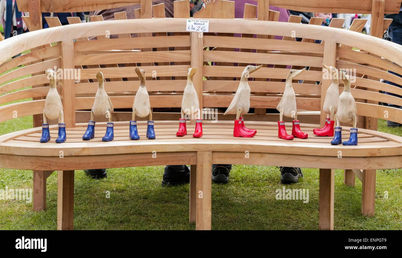 antrim northern ireland uk 9th may 2015 garden show ireland in antrim castle gardens wooden ducks on a bench credit j orralamy live news - Garden Furniture 2015 Uk