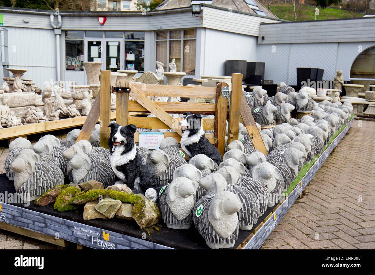Ornaments for garden - Hayes Garden World Centre Ambleside Cumbria Lake District Slate Made Sheep Garden Ornaments