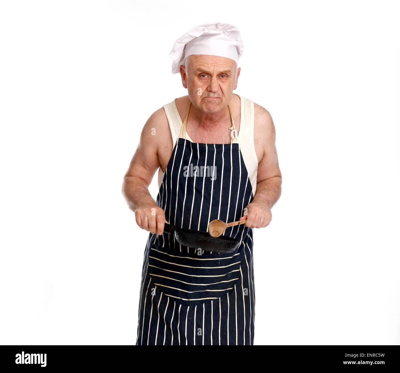 Grumpy Foul Tempered Man As A Low Grade Chef Or Cook In A