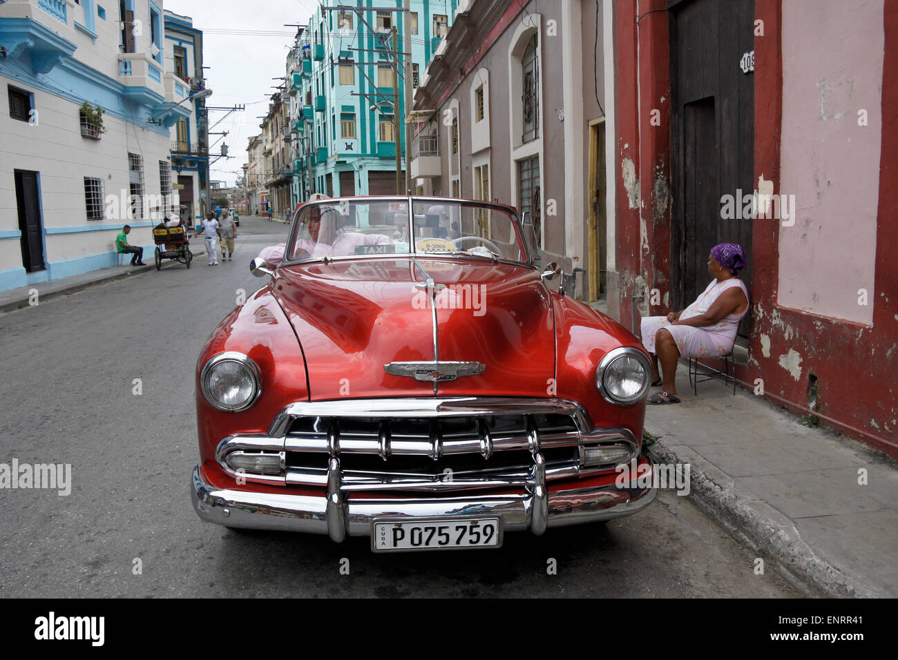 Old Chevy convertible on the street of Cayo Hueso neighborhood Stock ...