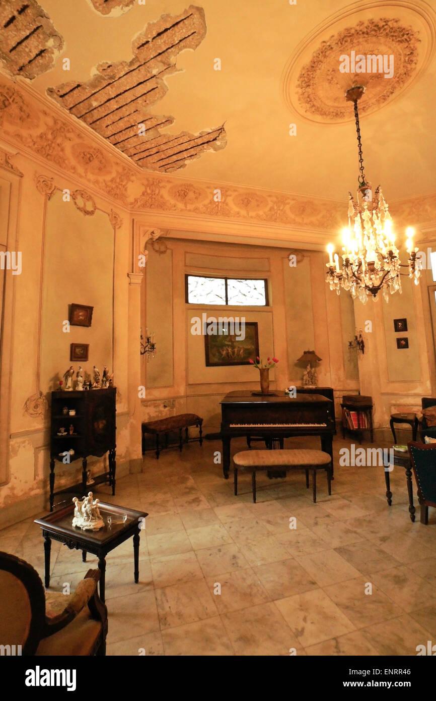 Music Salon Of Old Mansion In Vedado Neighborhood Havana Cuba