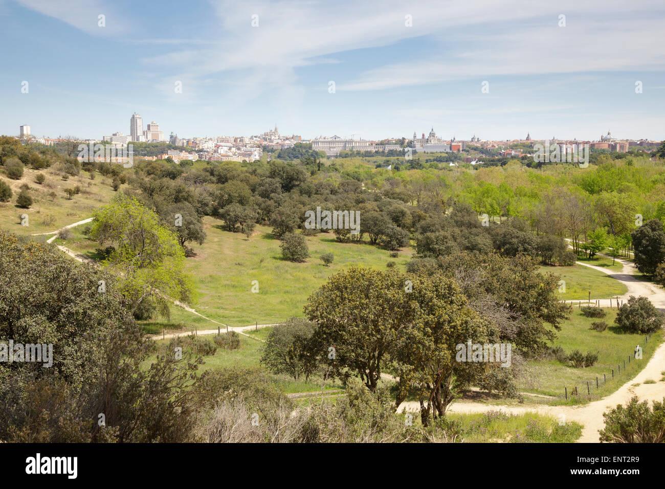 View from the casa de campo park over madrid city spain - Casa de campo park ...