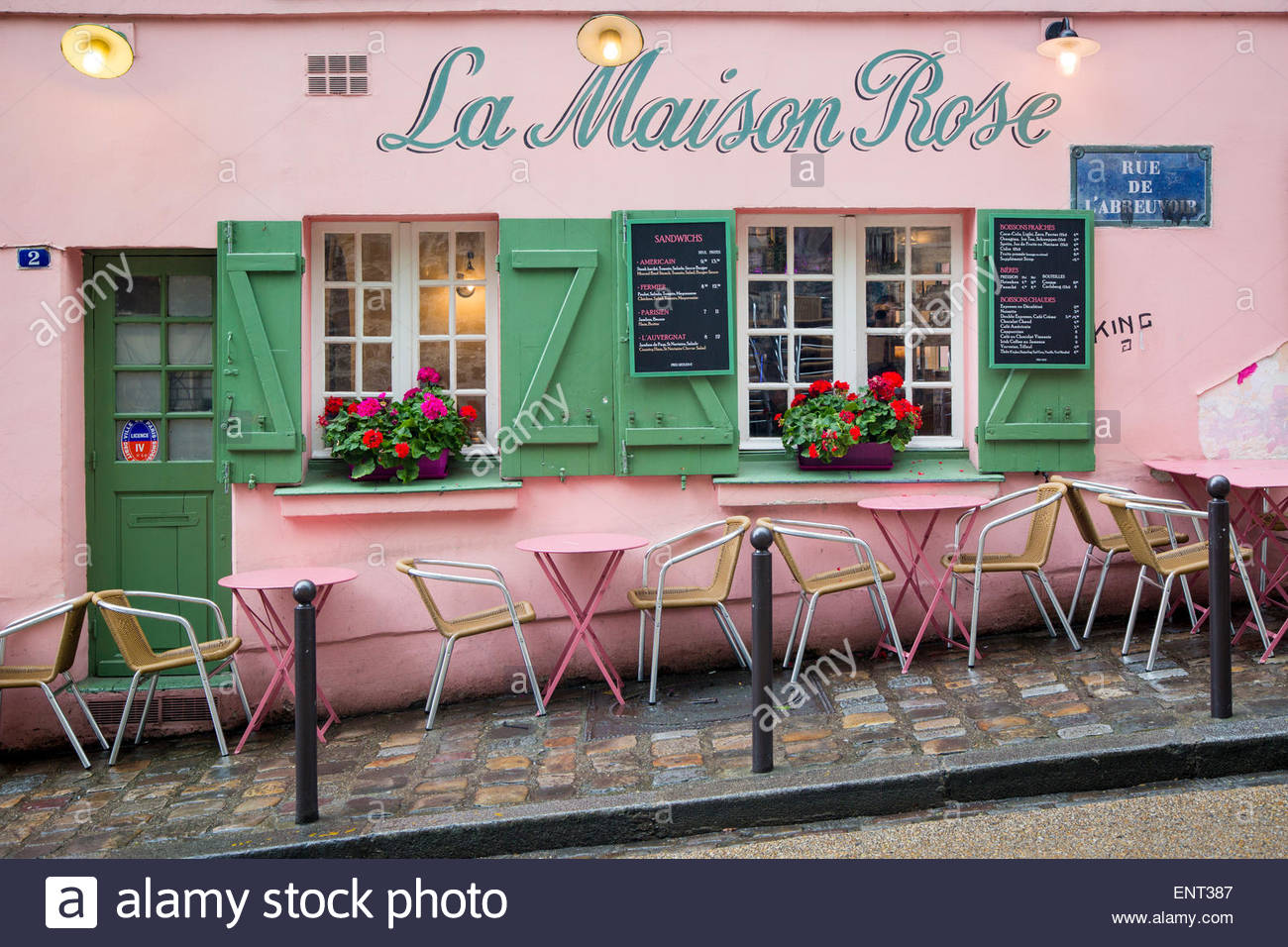 Cafe la maison rose montmartre paris france stock photo for La maison rose lourmarin