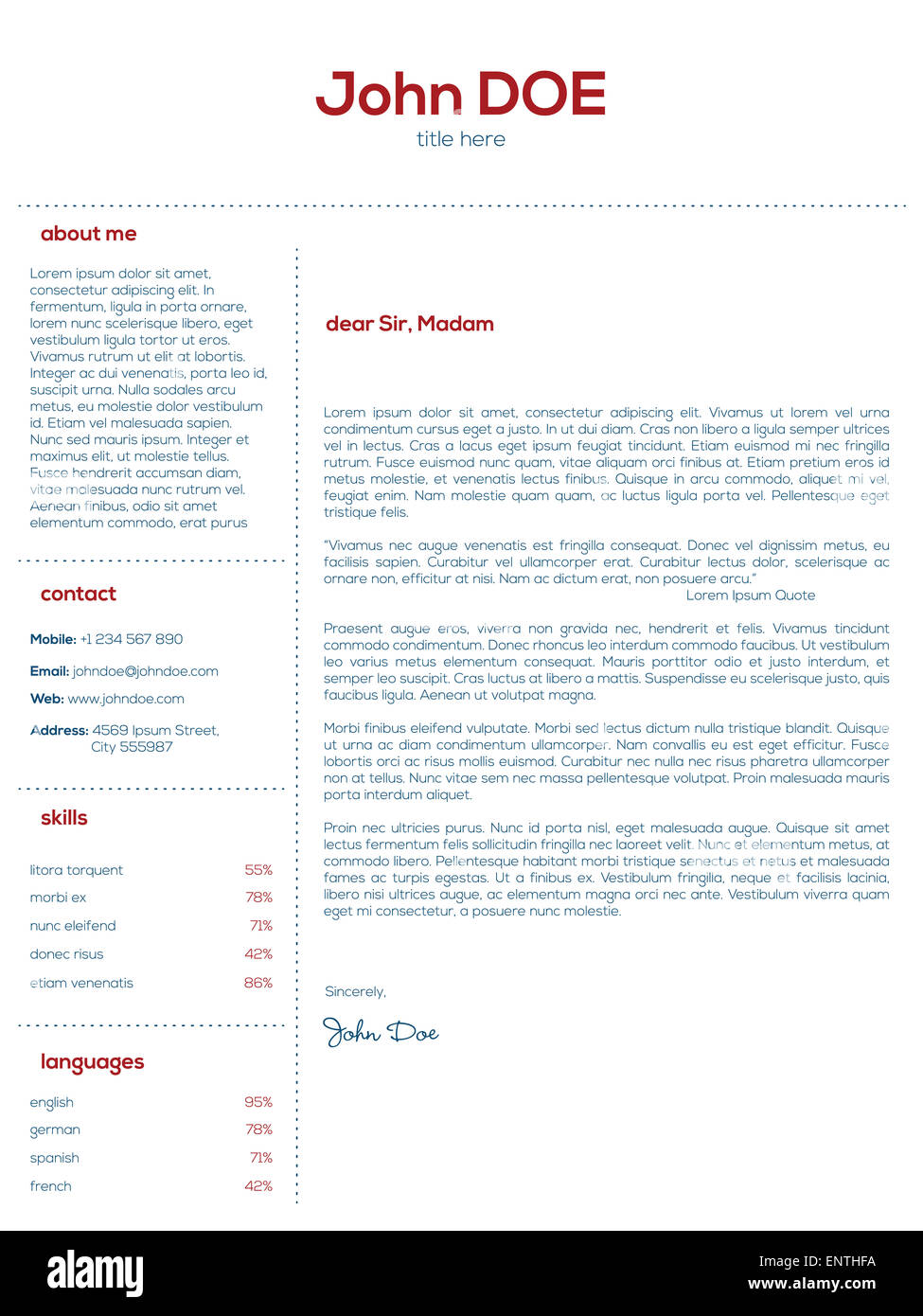 simple cover letter design for resumes and cvs stock photo