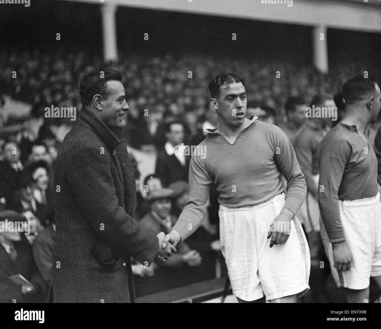 Dixie Dean the legendary Everton centre forward being introduced