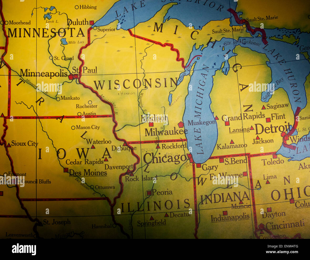 Old US Map Of Midwestern States Stock Photo Royalty Free Image - Us map of midwest states