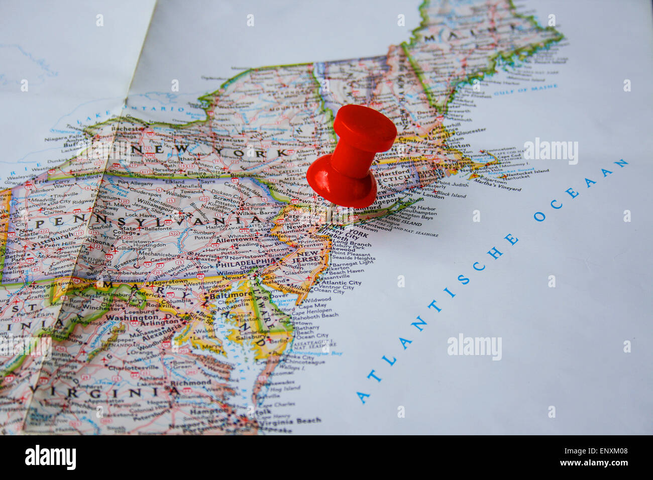 Red Pin On Map Of USA Pointing At New York City New York Stock - New york city on map of usa