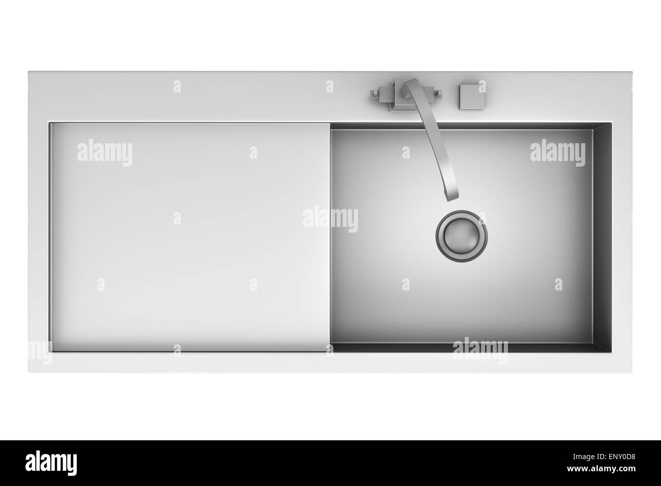 top view of modern metal sink isolated on white Stock Photo, Royalty ... for Modern Sink Top View  155sfw