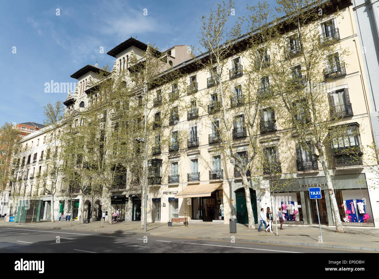 calle serrano in the salamanca district madrid spain