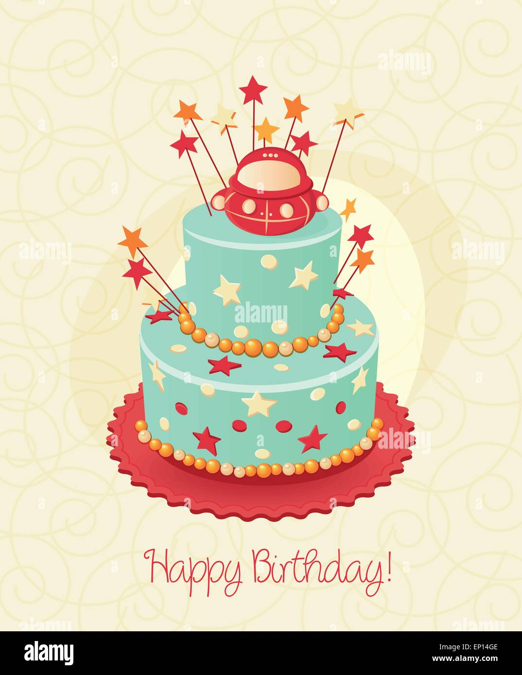 Birthday Cake Poster Vector Candle