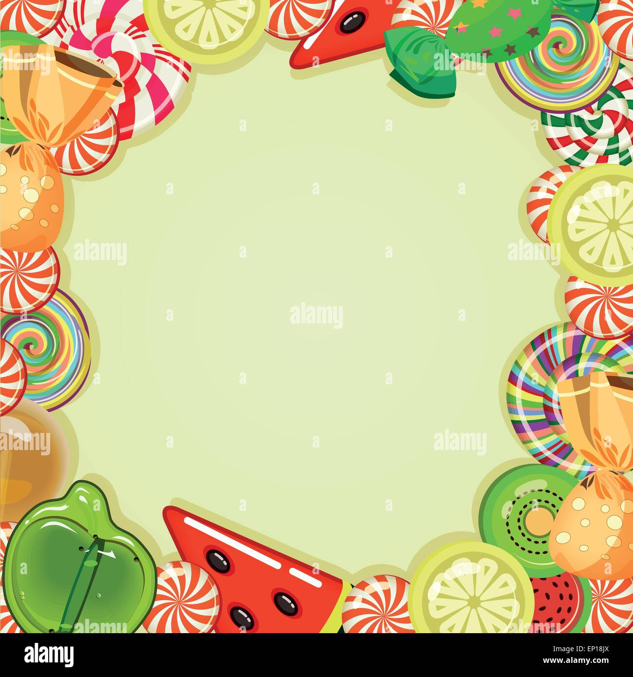 candy shop frame vector illustration background with