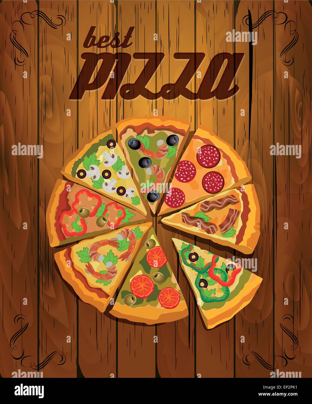 Vector Pizza Label or Poster - Design Template. Pizza ...