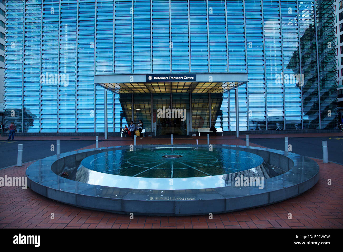 Water fountains auckland - Glass Facade Of Britomart Transport Centre And Water Feature Auckland Cbd North Island New Zealand