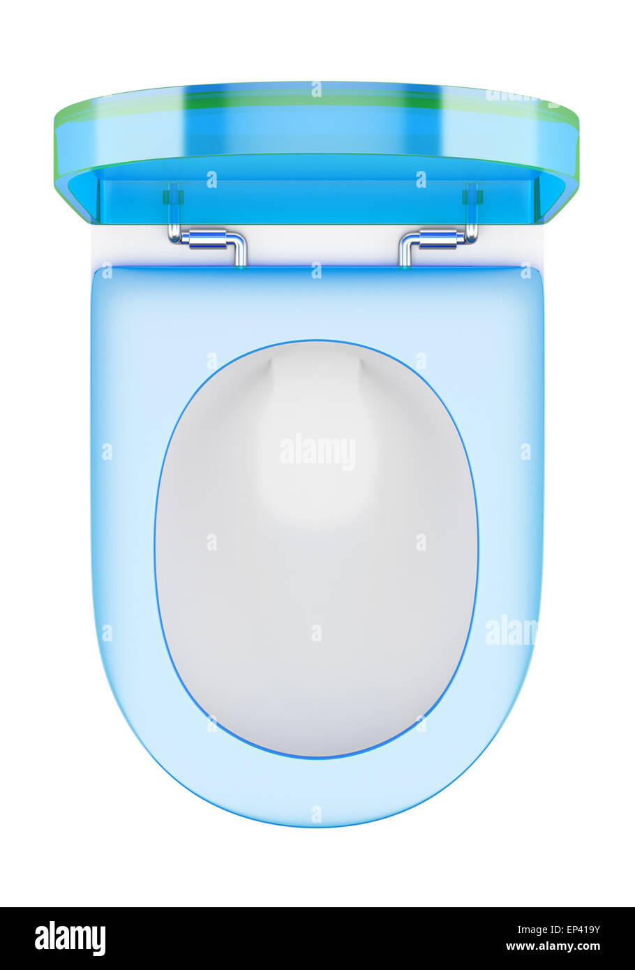 Stock Photo   top view of modern toilet bowl with blue cover. top view of modern toilet bowl with blue cover Stock Photo